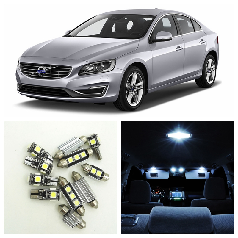 16pcs Canbus Car White LED Light Bulbs Interior Package Kit For 2011 2012 2013 2014 2015 Volvo S60 Map Dome Trunk Door Lamp 16pcs canbus car white led light bulbs interior package kit for 2011 2012 2013 2014 2015 volvo s60 map dome trunk door lamp