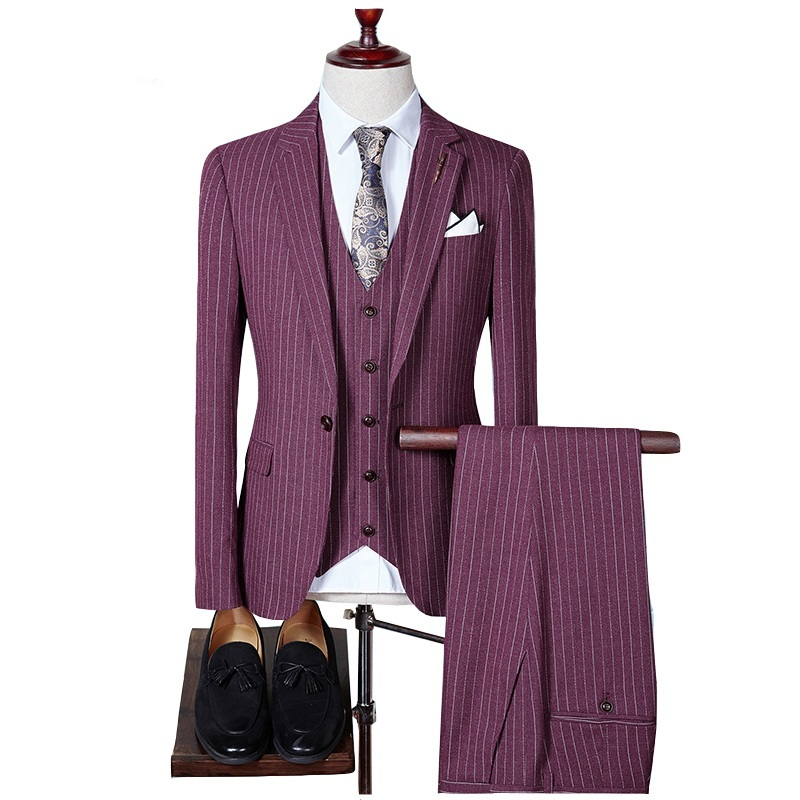 2018 Big Size S to 4XL High Quality Men Suit Fashion Vintage Striped Slim Fit Wedding Groom Suits (Jacket+Pants+Vest) Sales