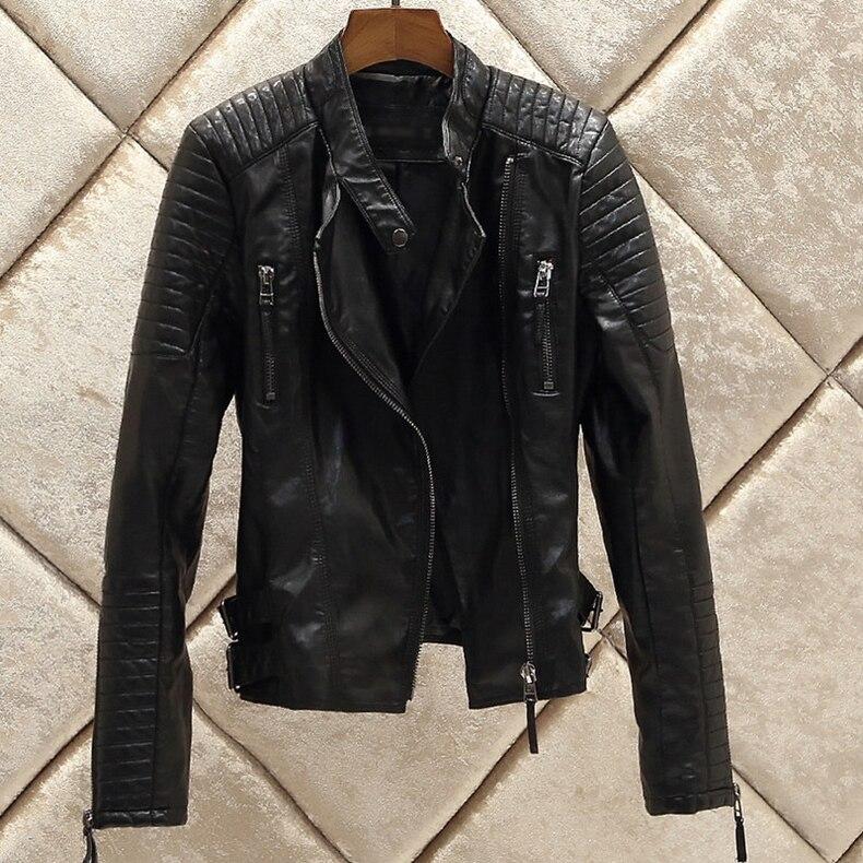 Survêtement Manteau Nouvelle Veste 2017 Moto Noir Black Faux Automne Souple Vestes Glissière À A186 Femmes Mode Hiver Chaude Cuir Pu Fermetures Pimkie BxedCo