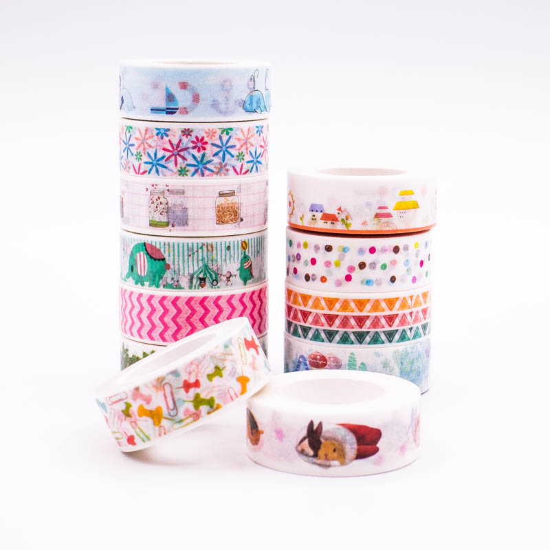 Japanese Washi Tape crafts Mixed Color Pastel Patterns DIY Decorative Adhesive Tape Set Masking Paper Tapes 1PCS/Lot diy 24 national flag patterns electric paper airplane module toy multicolored
