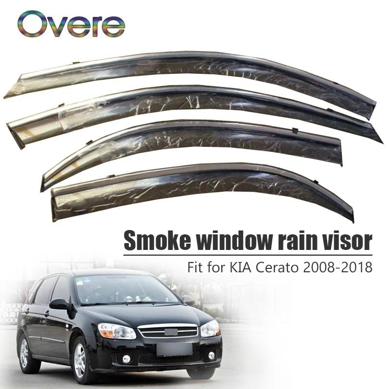 Jiahe For K IA CERATO Sedan 2008-2018 4PCS Window Deflectors Original Auto Door Side In-Channel Visors Front Rear Wind Deflectors//Sun Visors//Rain Shield//Sun Guards Dark Smoke