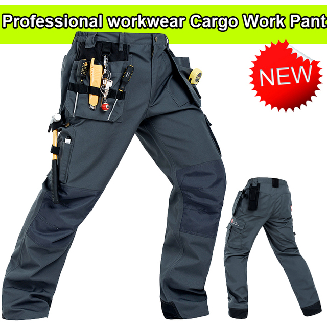 Bauskydd Durable workwear Polycotton men's wear-resistance multi-pockets grey cargo trousers work pants men workwear