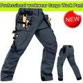 Durável workwear Polycotton desgaste-resistência multi-bolsos cinza dos homens calças de carga calças de trabalho homens workwear