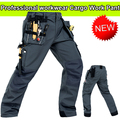 Durable workwear Polycotton men's wear-resistance multi-pockets grey cargo trousers work pants men workwear