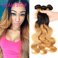 Two Tone 1B/27 Natural Black And Blonde Ombre Human Hair Extensions Rosa Hair Products Brazilian Virgin Hair Body Wave 4 Bundles