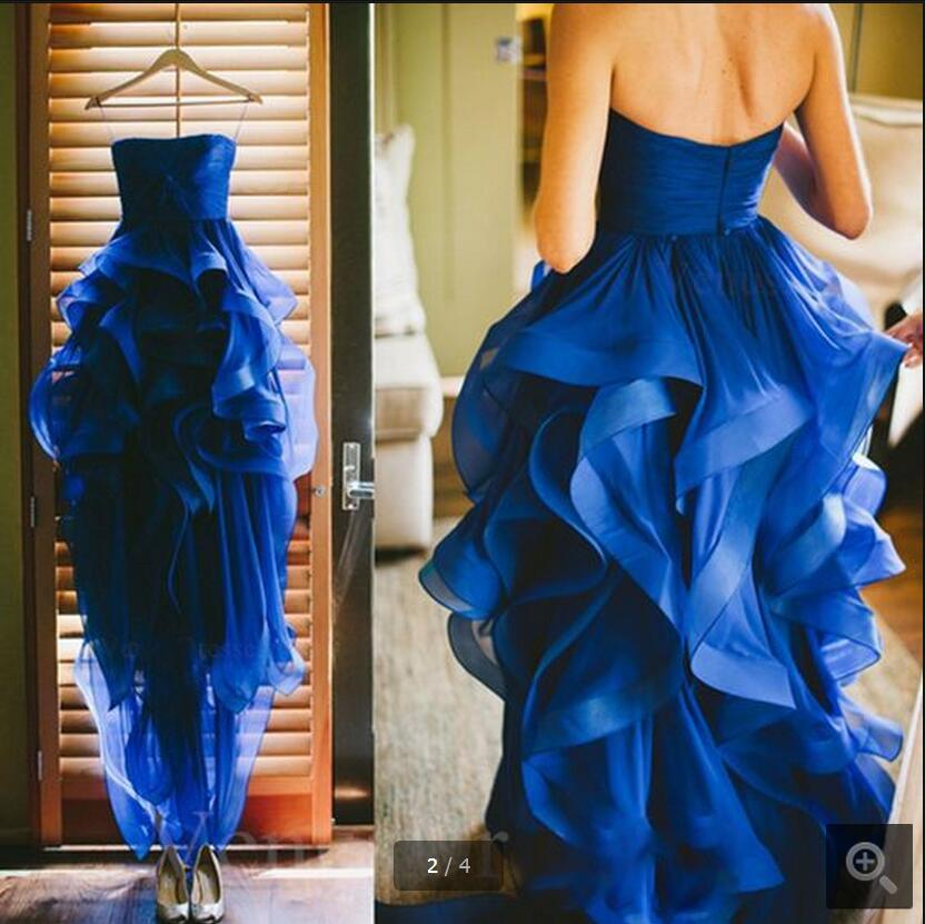real picture royal blue a line organza high low prom