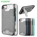 Floveme para iphone 7 case cubierta de plástico titular de la tarjeta soporte del teléfono cubierta para iphone 7 plus case cepillado fundas capa coque shell