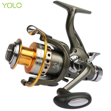 YOLO Double Brake System Spinning Fishing Reel 5.2:1 10BB Carp Feeder Fishing Wheel Size 3000 4000 5000 6000 Max Drag 20kg