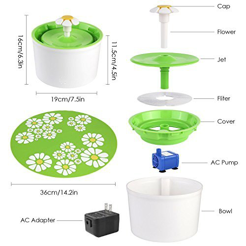 Automatic Cat Dog Pet Water Fountain Pet Bowl Cat Drinking Flower Water Dispenser Petsafe Drink with Filters Pet Water Fountain 5