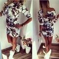 Лето Мода Повседневная Женщины Dress Половина Рукава Асимметричный шеи Dress Оболочка Bodycon Платья