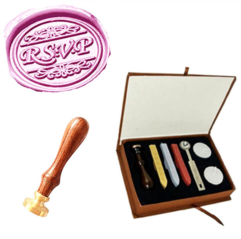 Vintage Wax Seal Sealing Stamp RSVP Decorative Pattern Wedding Invitation Sticks Spoon Gift Box Set Kit Custom Picture Logo big copper spoon big large size stamp spoon vintage wooden handle brass spoon for sealing wax stamp wax stick spoon