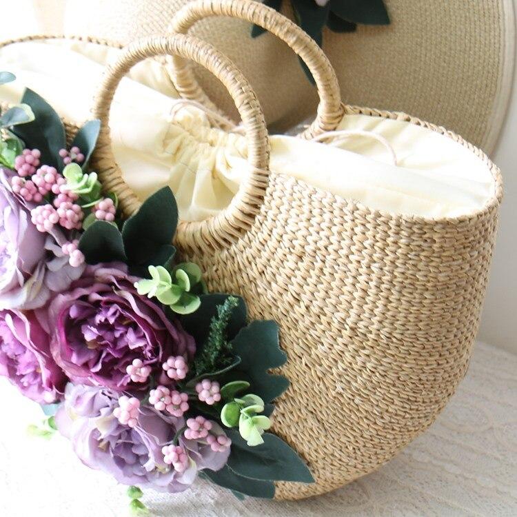 แห่งชาติวินเทจทำด้วยมือดอกไม้ชายหาดถุงฟางฤดูร้อน pastoral มือผู้หญิงกระเป๋าและหวายเดินทางท่องเที่ยววันหยุดกระเป๋าชุด-ใน กระเป๋าหูหิ้วด้านบน จาก สัมภาระและกระเป๋า บน   2