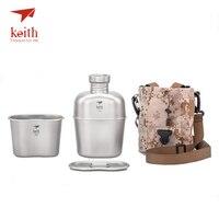 Кит Открытый Кемпинг Пеший Туризм Титан двойного назначения столовой военного бутылки воды чайник чашки горшок 1100 мл + 700 мл Ti3060