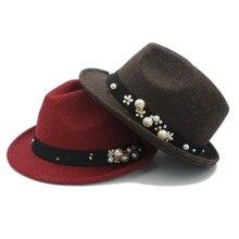 Мода зима шерсть женская мужская фетровая шляпа для элегантных леди Трилби шляпка для церкви мужские Дерби Cloche Chapeau Femme Top cap
