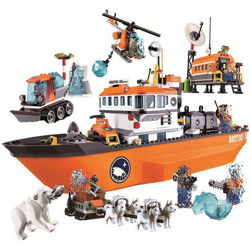 Bela City 10443 Polar Adventure Arctic Ice Breaker Ship Model Building Blocks Classic Figure