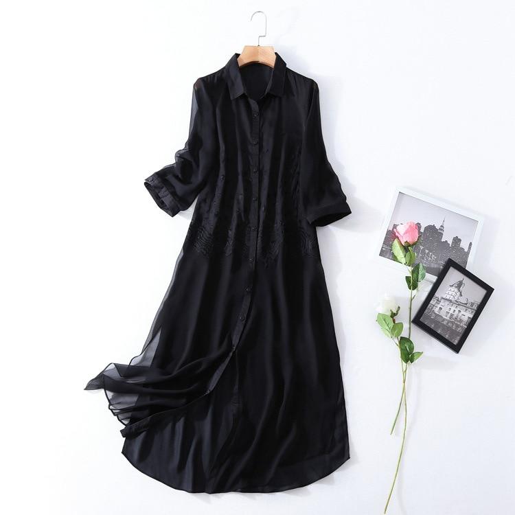 High quality solid silk patchwork black dress 2018 new brand runway women sprint summer dress fashion embroidery a-line dress женское платье dress new brand 2015 summer women dress