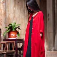 Solid Red White Cotton Linen Women Long Blouse Shirt Loose Casual Summer Long Shirts Vintage Style