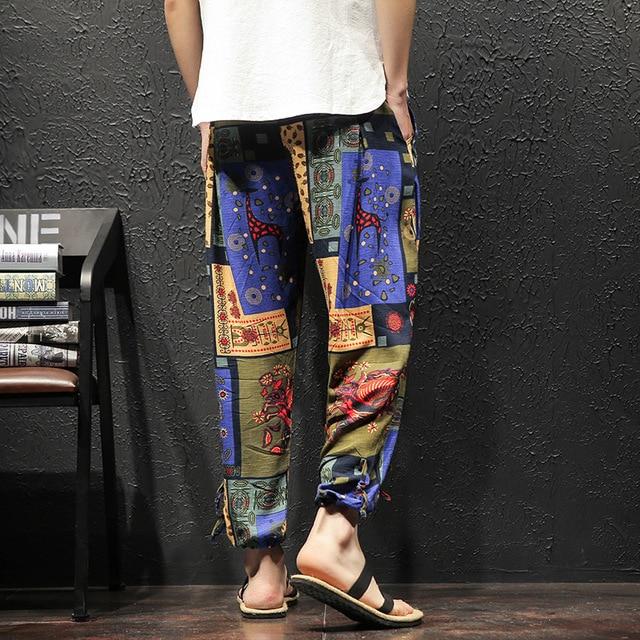 Men Harem Pants Vintage Hip Hop Baggy Wide Leg Pants Streetwear   Elastic Waist Printed Boho Trousers Male Cross Pants GM103 72