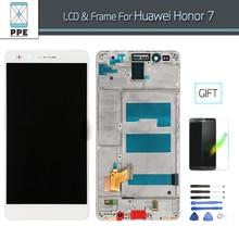 Para Huawei Honor 7 Pantalla LCD de pantalla Táctil Digitalizador con marco Asamblea pantalla LCD Reemplazo de la pantalla negro blanco + Herramientas
