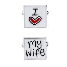 New Fashion Cufflink for men I Love My Wife Design Good Husband Cuff Link Men Shirt Charm Zinc Alloy Cufflinks Wholesale