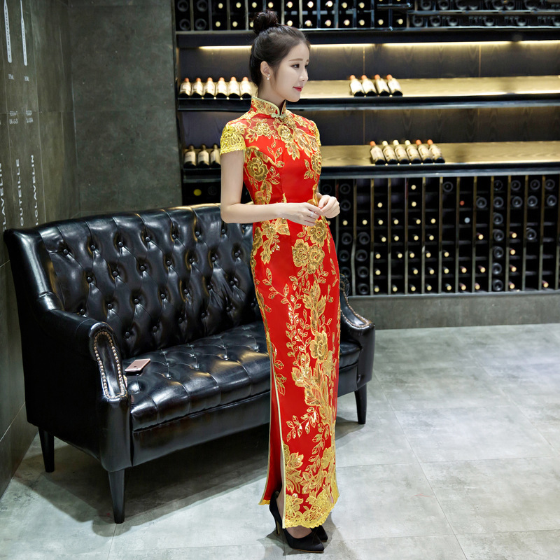 Dentelle bleue Cheongsam robe nationale chinoise Qipao modèle moderne robe de mariée traditionnelle femmes Phoenix broderie mariée YSB - 4