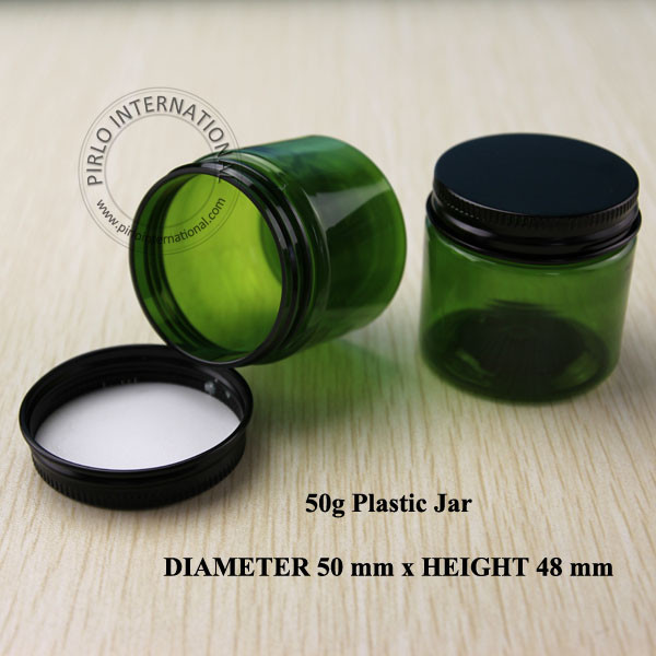 50g D50 H48mm Green PET cream jar cosmetic box with screw aluminum cap cosmetic packaging wholesale
