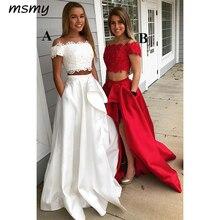 2a6413834 Vestido de noche elegante de encaje de 2 piezas blanco baile Vestido con pedrería  largo de