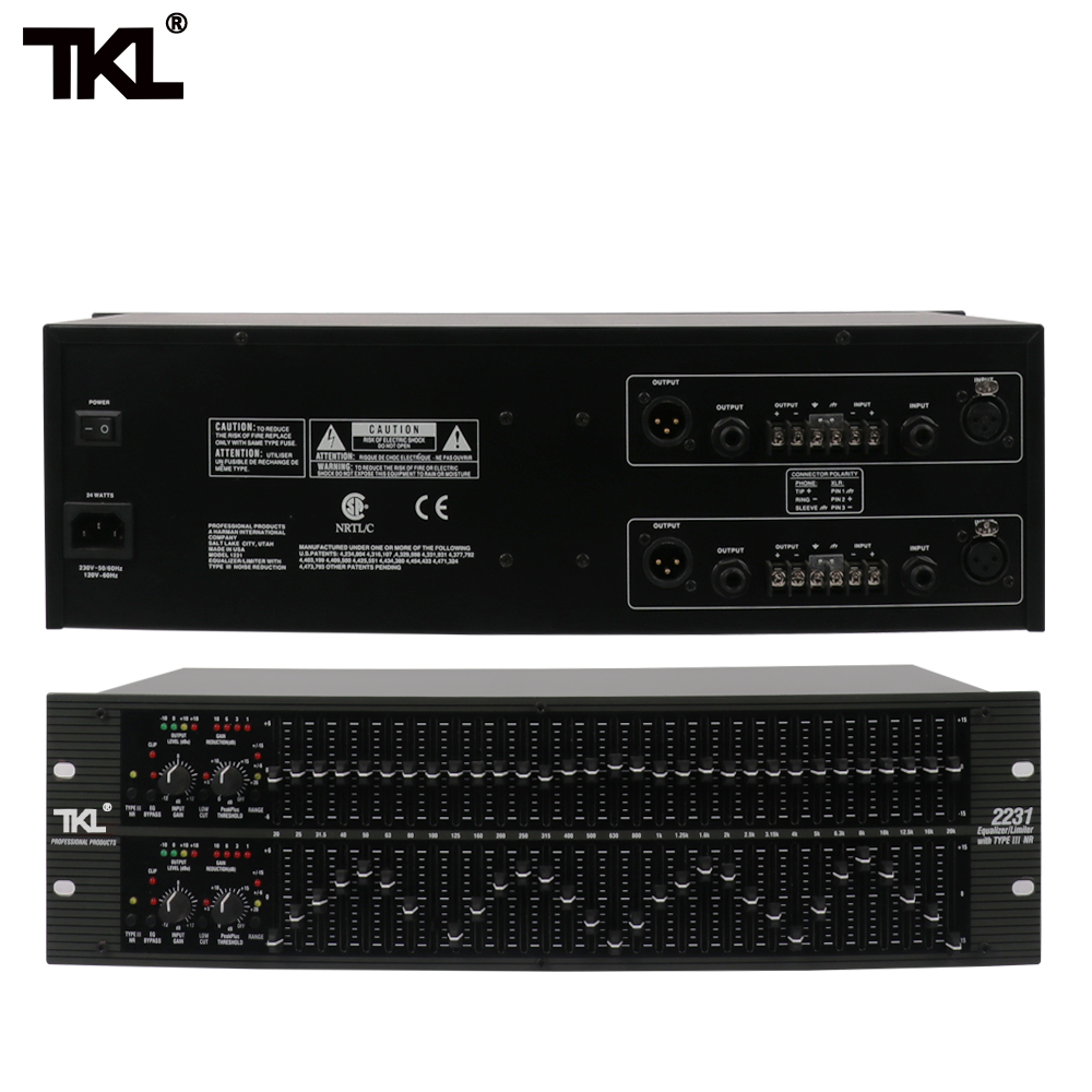 TKL 2231 Professional Equalizer EQ Balance Mixer Dual 3U Balanced Noise Reduction Effect Audio Processor For Stage DJ