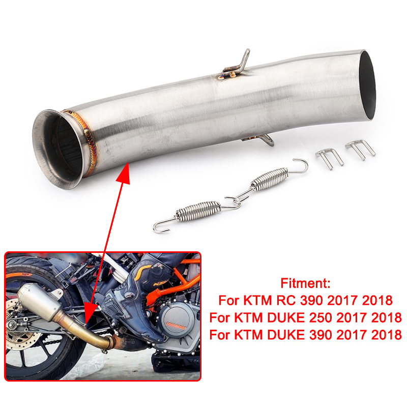 Universal Motorcycle Exhaust Muffler Silencer Pipe Middle Link Pipe For KTM 125 250 390 DUKE 125 250 390 RC390 2017 2018 image
