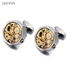 New Gold Watch Movement Cufflinks Of Immovable Stainless Steel Steampunk Gear Watch Cuff links for Mens With Gift Box gemelos