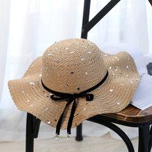 Grande Aba Larga Praia Palha Chapéu de Sol de Proteção UV Venda Quente  Round Top Verão Chapéus de Sol para As Mulheres Dobrável . c1f3bf730aa
