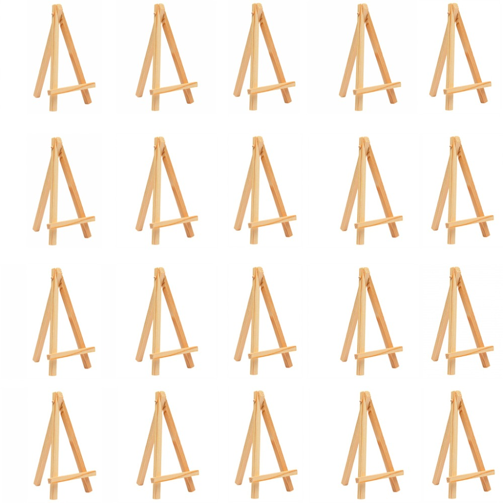 50 pcs Mini Wooden Table Easel Desktop Name Card Picture Stand Display Easel Art Drawing for School Kids Artist Wedding Supply table