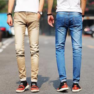 Image 3 - جديد موضة الرجال الجينز ضوء اللون جينز سترتش عادية مستقيم سليم صالح متعدد الألوان نحيل الجينز الرجال القطن سراويل جينز
