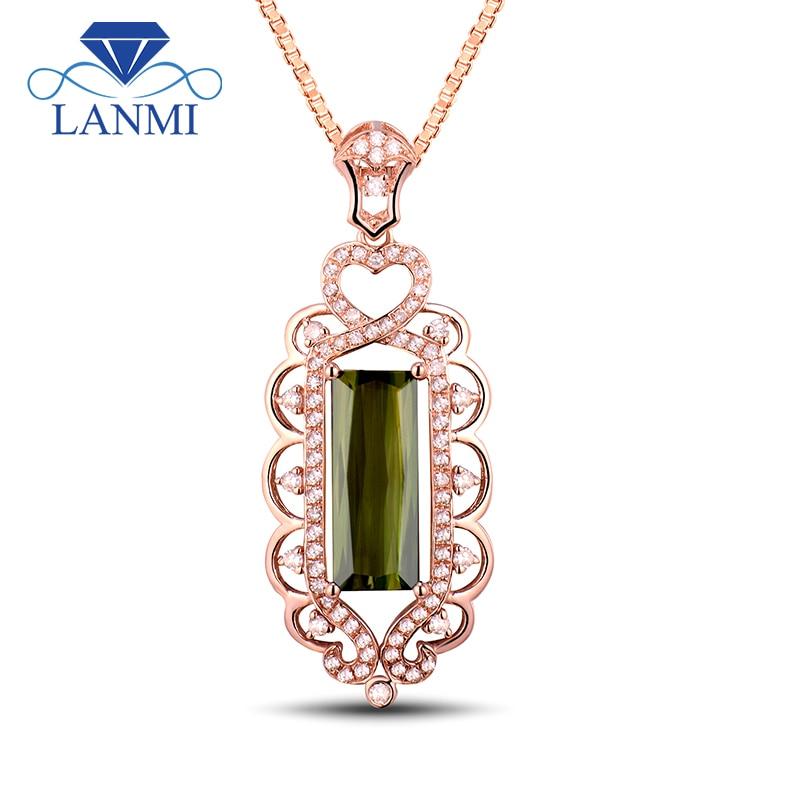 Fashion Solid 18K Rose Gold Pendant Rectangular Cut Natural Diamond Green Tourmaline Wholesale Wedding Jewellery Pendant WU41TOU
