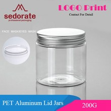 Sedorate 20 pcs/Lot 200ML PET Clear Jars With Silver Aluminum Lid For Facial Mask Food Storage Jars Cosmetic Containers XMJ05