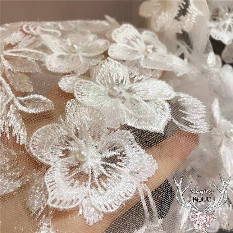 1 Yard 3D Pearl Beaded Flower Lace Trim in Off White Sewing Craft Accessories Petal lace fabric for bridal veil wedding bodice in Lace from Home Garden