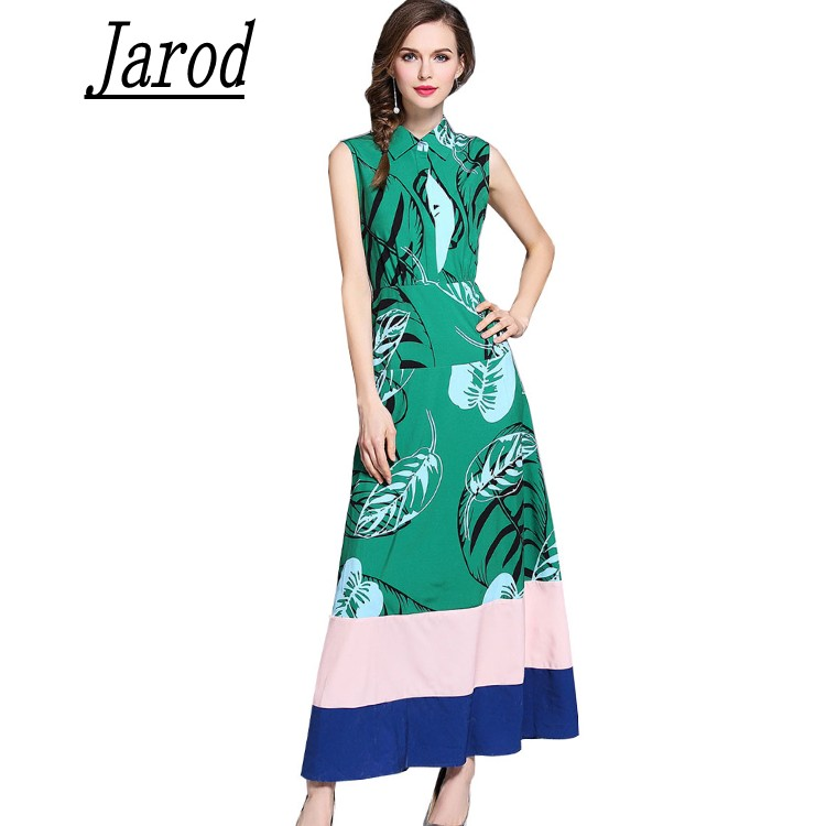 Runway Sleeveless Turn Down Collar Maxi Dress 2018 Summer Women Green Tropical Printed Leaves Hit Color patchwork Long Dress