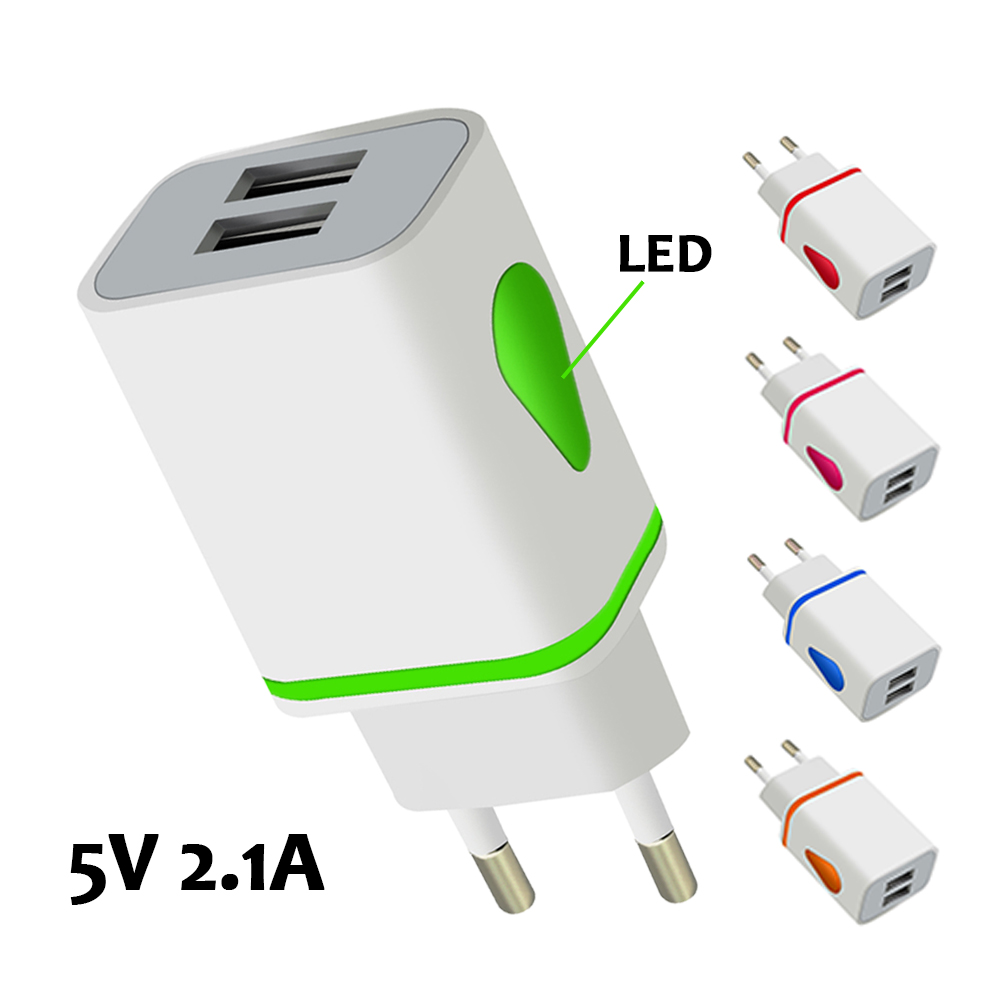 5v 2.1A Luminous 2USB Hub Fast USB Charger for Samsung Meizu Xiaomi Huawei iphone Charger EU plug Adapter Tablet power connector
