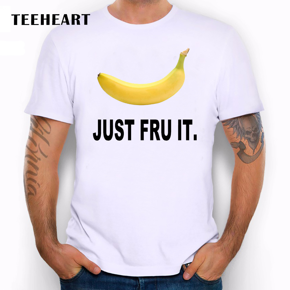 Teeheart just do it fruit printed men s casual t shirt male summer white tops tee
