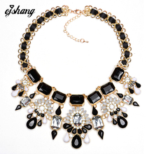 2016 New Flower Necklaces & Pendants Crystal Statement  Brand Necklace Chunky Choker Bib Collar Fine Jewelry Women Accessory