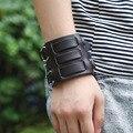 Men Biker Bracelet Punk Rock 6.8CM Wide Leather Handmade Bracelets Wristband Three Belt Alloy Black Red Cow Leather Jewelry