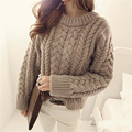 2016 New Women Autumn Winter Loose Coarse Wool Knitted Sweater Thicken Warm Knitwear Female Short O-neck Casual Pullovers ZS528