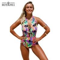 Hotapei One Piece Swimsuit 2017 New Sexy Swimwear Women Push Up Bandage Bathing Suit Bodysuit Summer