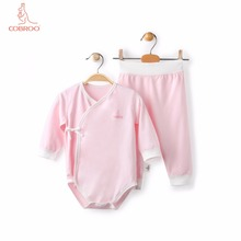 COBROO Baby Girl/Boy Clothing Set in Solid Color Long Sleeves Bodysuit&Pants 2-Piece Set 100% Cotton 0-3-6 Months 2018 real 100% cotton baby clothing three piece normal boy girl clothessize bodysuit
