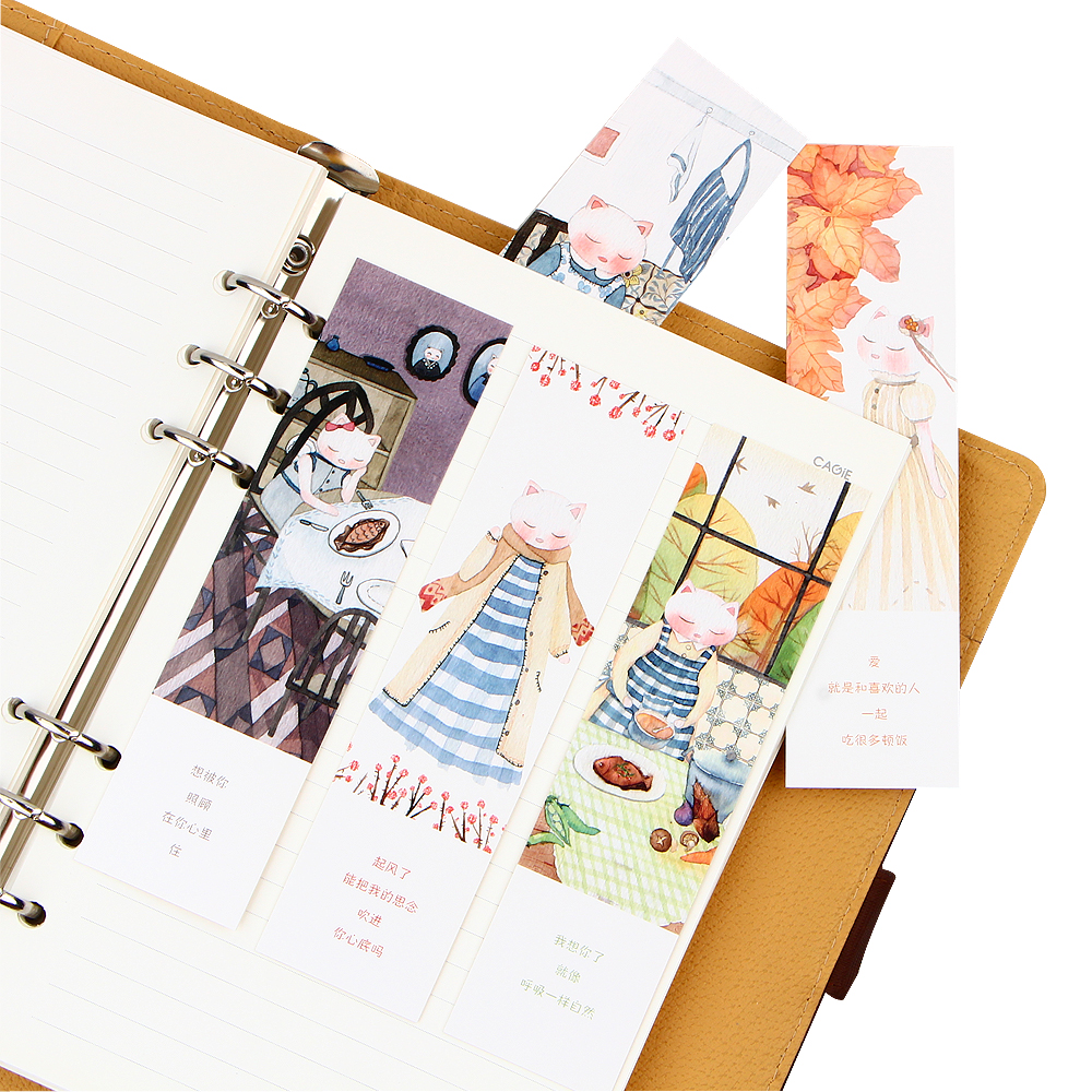 """Executive College Stationery Note Cards: 30 Pcs/box Cartoon Cat """"Looking For Time"""" Bookmark"""