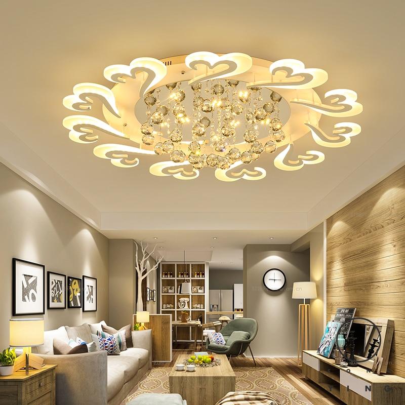 Crystal White Finish Led Ceiling Lights Living Room Bedroom Study Room lampara de techo Modern led Ceiling Lamp Fixtures все цены
