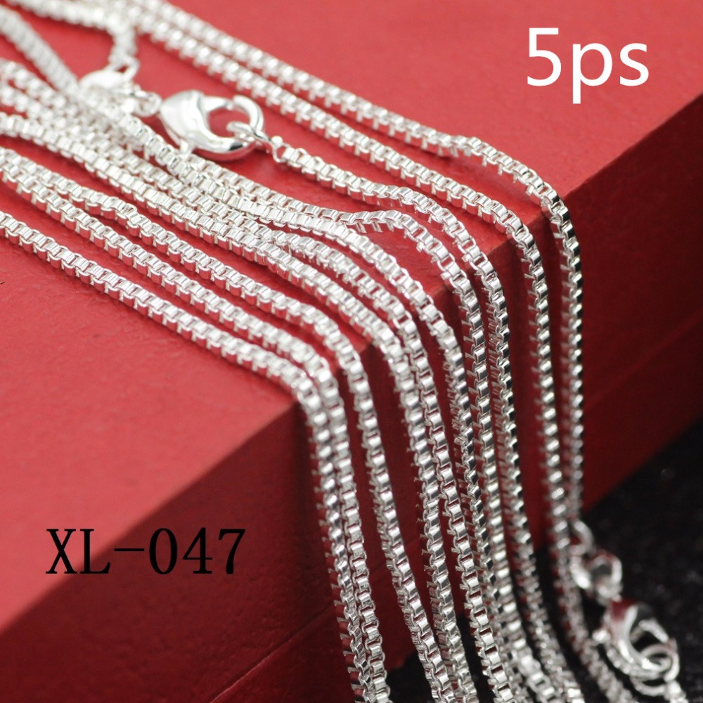 5ps/package 925 sterling silver necklace 925 sterling silver box women necklace Popular female money box Female money box chain