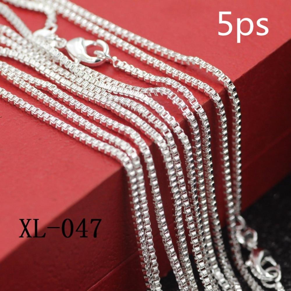 5ps / pack 925 стерлинг күміс ожерель 925 стерлинг күміс қораптағы әйелдер ожерелье Танымал әйелдер ақшалай қорап Әйелдер ақша қорап тізбегі