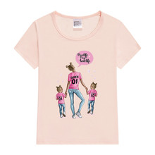Printed Mom Baby Girl T-Shirt Matching Family Outfits Tshirt Summer 2019 Casual Mom Daughter Girls Tops Short Sleeve Family Look недорого