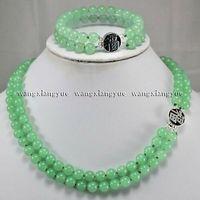 2Rows Natural 8mm Green Jade Gemstones Jewelry Necklace Bracelet Set AAA Grade jade